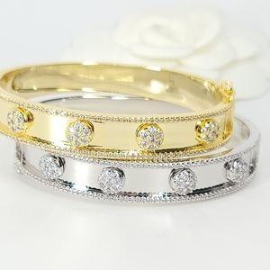 NEW Chic Micro Pave CZ Cuff Bangle Bracelet NWT